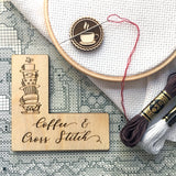 "Pattern Marker + Needle Minder Bundle: ""Coffee & Cross Stitch"" Magnetic Engraved Wooden Place Keeper"