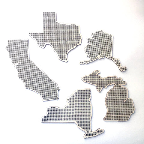 Stitchable Wooden US States Silhouette