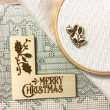 "Pattern Marker & Needle Minder Bundle: ""Merry Christmas"" Holly Holidays Magnetic Engraved Wooden Cross Stitch Place Keeper"