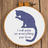 I Will Puke On Everything You Love Funny Cat Cross Stitch Pattern