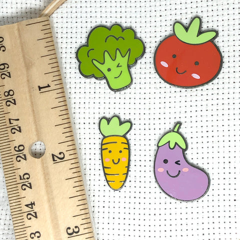 Happy Veggies Magnetic Enamel Needle Minders:  Cute Broccoli, Carrot, Eggplant, Tomato Needleminders