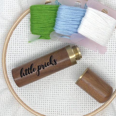 Little Pricks Engraved Needle Case: Snarky Embroidery Cross Stitch Quilting Custom Solid Wood Brass Screw Top Needle Storage Tube Container
