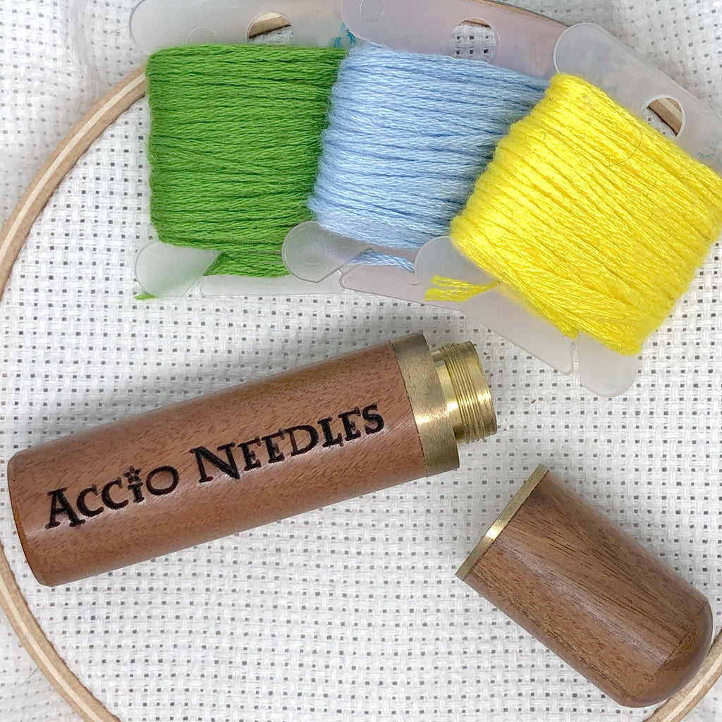 Accio Needles Engraved Needle Case: Snarky Embroidery Cross Stitch Quilting Custom Solid Wood Brass Screw Top Needle Storage Tube Container
