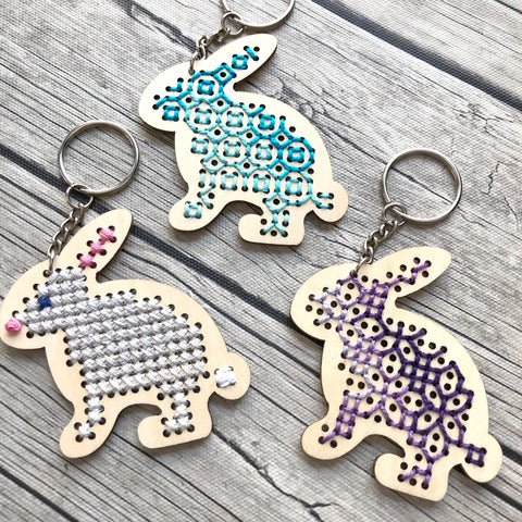 Stitchable Wooden Bunny Keychains (Set of 3) with sample patterns
