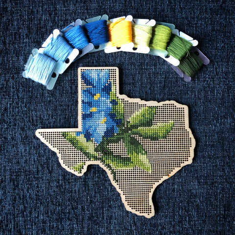 Stitchable Wooden Texas States Silhouette