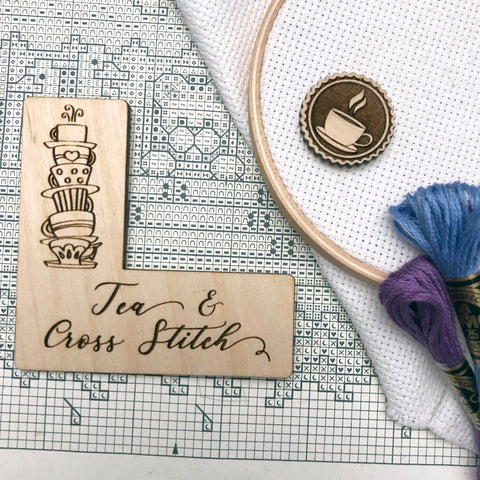 Tea & Cross Stitch Pattern Marker + Needle Minder Bundle