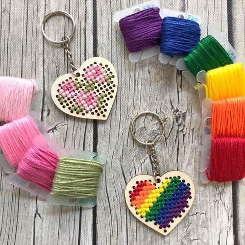 Stitchable Wooden Heart Keychains (Set of 3) with Rose/Rainbow patterns