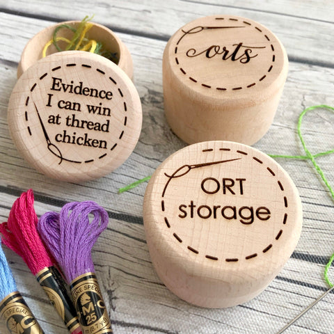 ORT Jar Engraved Thread Storage: Snarky Embroidery Cross Stitch Quilting Custom Solid Wood Scrap Floss