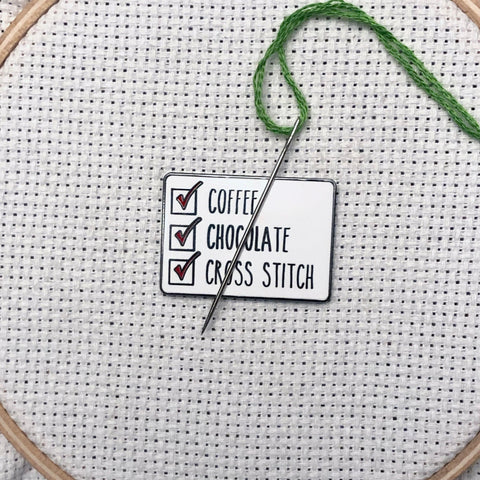Coffee, Chocolate, and Cross Stitch Magnetic Needle Minder
