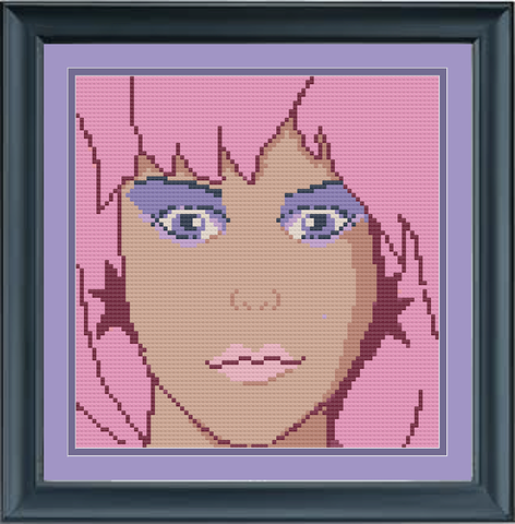 Jem (Set of Two) Cross Stitch Pattern: Jem and the Holograms