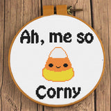 """Ah Me So Corny"" Candy Corn Cross Stitch Pattern"