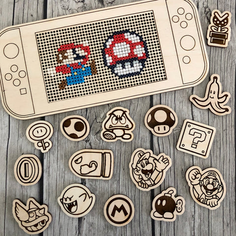 BUNDLE: Stitchable Wooden Video Game Handheld Console & Icon Needle Minder