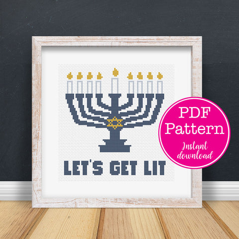 Let's Get Lit - Hanukkah Menorah Cross Stitch Pattern