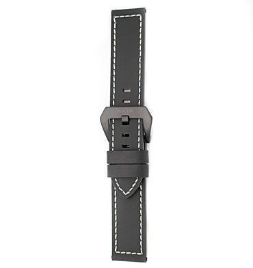 22mm Italian Leather Strap - Black - Beacon Watches Co.