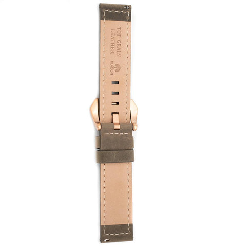22mm Italian Leather Strap - Grey - Beacon Watches Co.