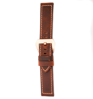 22mm Italian Leather Strap - Maroon - Beacon Watches Co.