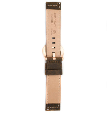 22mm Italian Leather Strap - Olive - Beacon Watches Co.