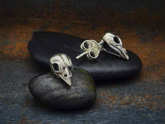 Bird Skull Stud Earrings