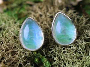 Teardrop Blue-Green Moonstone Earrings