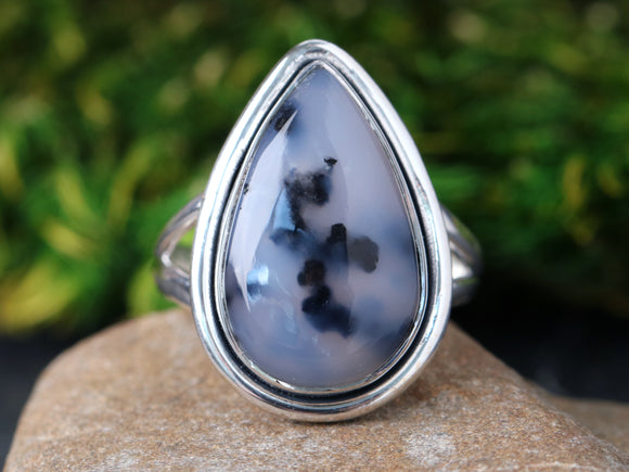 Teardrop Dendritic Agate Ring