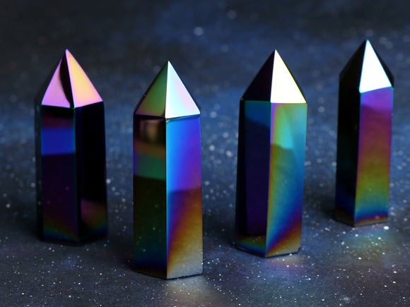 Rainbow Aura Obsidian Point