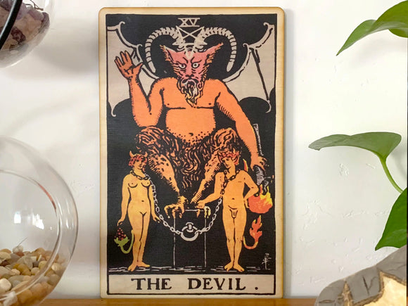 The Devil Tarot Wooden Art Print