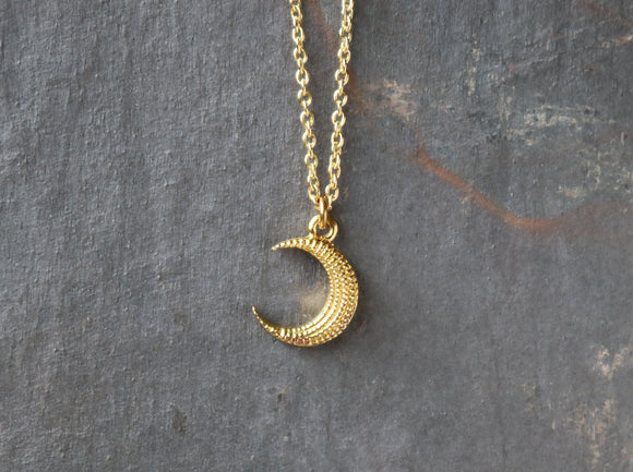 Textured Crescent Moon Necklace