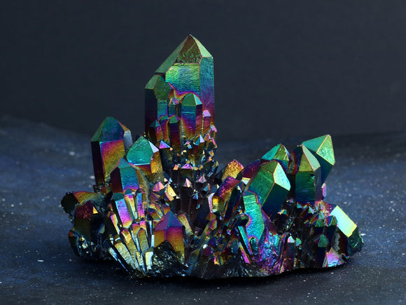 Rainbow Titanium Aura Quartz Cluster (one of a kind)