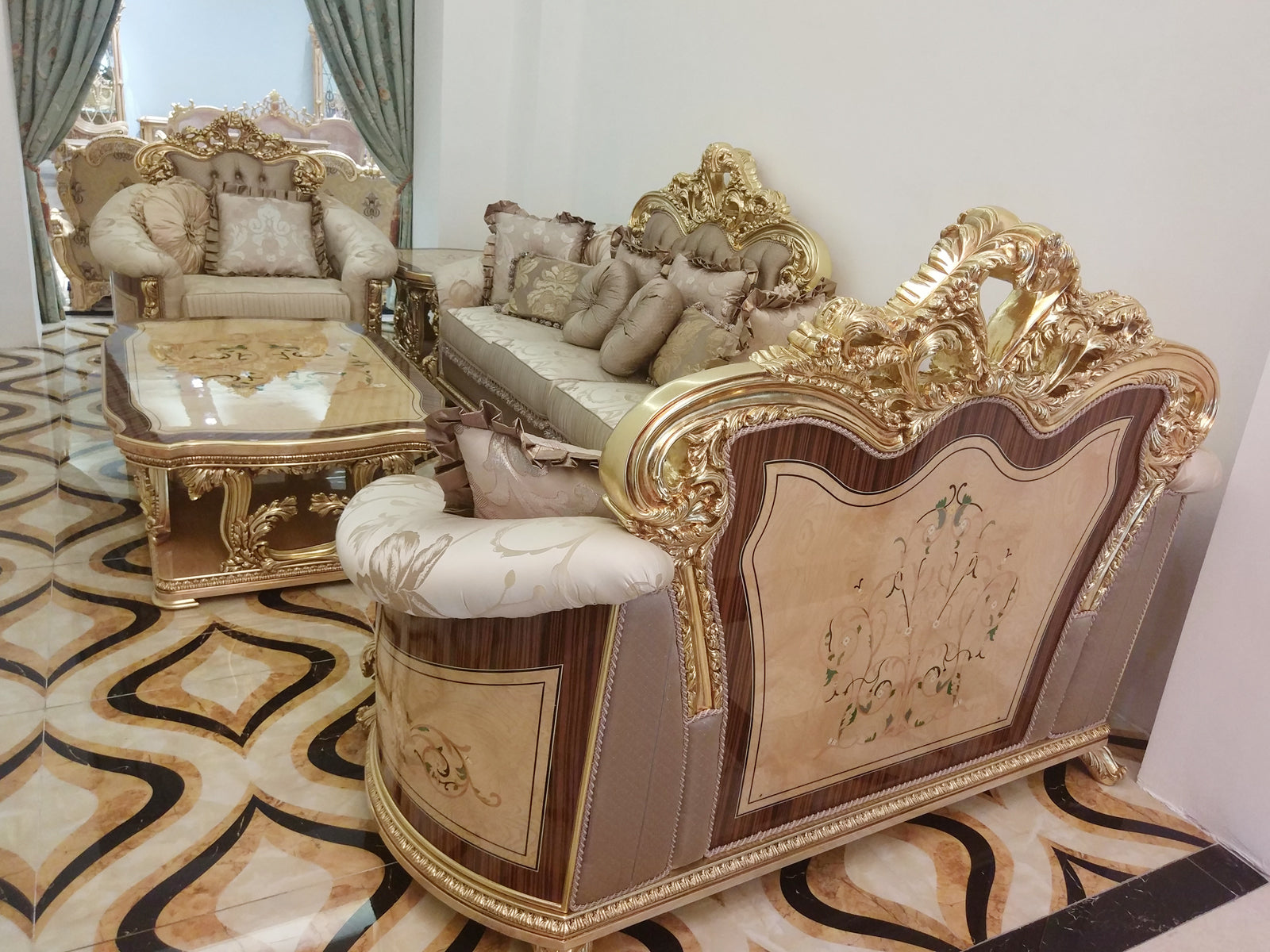 Deluxe European Neoclassic Style Wood Carved Sofa Set  3PCS | HL Dulce Domum