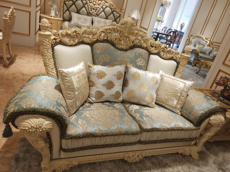 High Quality Luxury European Wood Carved Sofa