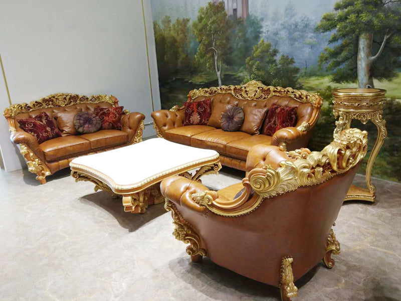 Luxury Wood Carved Real Leather Sofa
