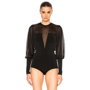 Black Long Sleeve Bandage Bodysuit