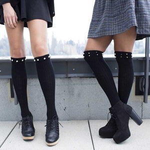 Black Knee High Boot Socks With Round Studs