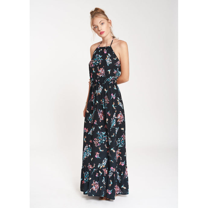 BLACK MAXI DRESS WITH MULTICOLOR PRINT ELANA