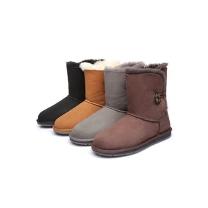 Australian Shepherd Water Resistant Ladies Short Button UGG Boots