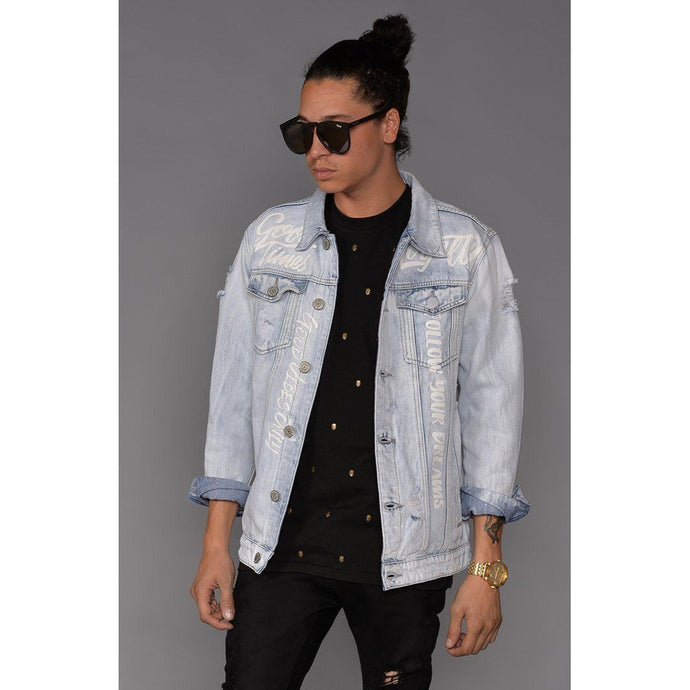 Graffiti Distressed Denim Jacket (Light Indigo)