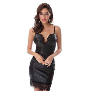 Black Leather And Lace Slip Dress