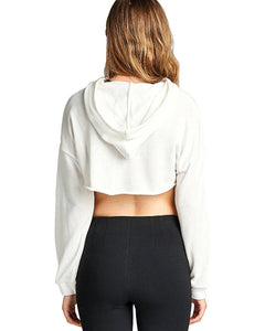 French terry knit athletic cropped hoodie