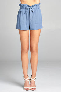 Ladies fashion high waist w/front bow tie rayon challis woven short pants