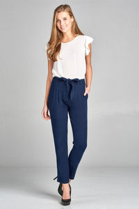 Ladies fashion linen long pants w/ tie waistband