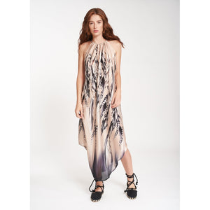 SILKY CREP LONG DRESS WITH ELEANE FEATHER PRINT