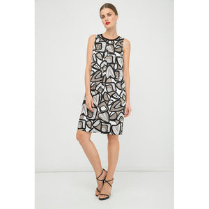 A Line Pleat Detail Print Dress
