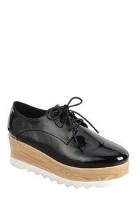 Ladies fashion lace up oxford, closed almond toe, tractor wedge flatform, lace up closure