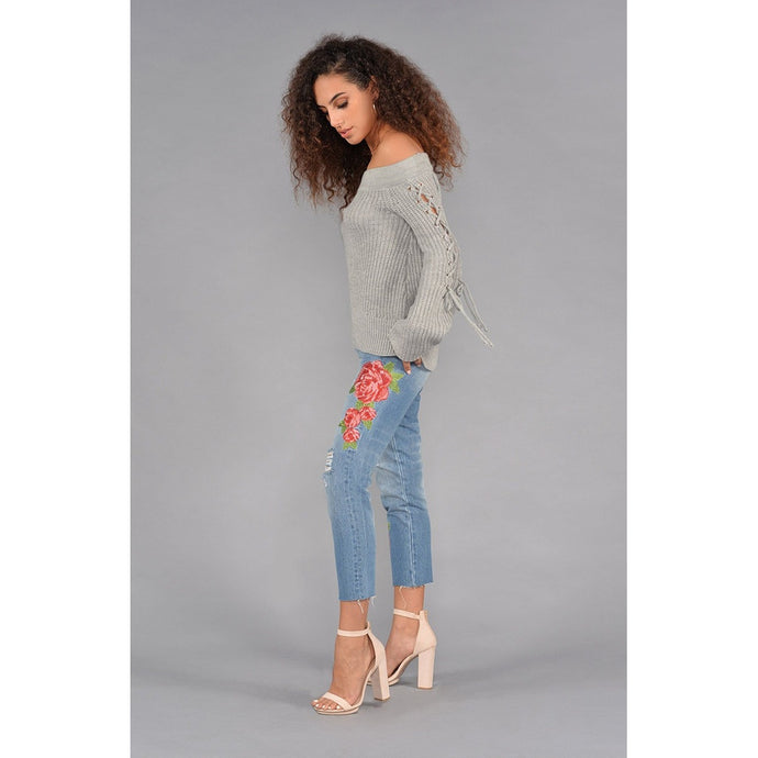 High Rise Rose Embroidered Jeans