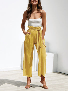 Casual Cotton Linen Wide Leg Pants