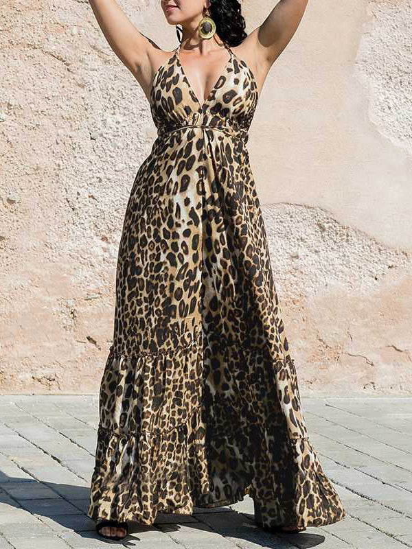 Leopard Spaghetti Strap Ruffle Swings Maxi Dress