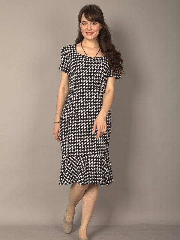 Houndstooth Casual Dress