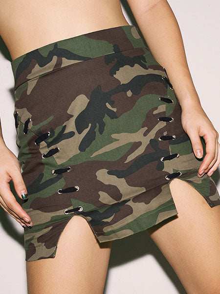 Camouflage Fitted Skirt