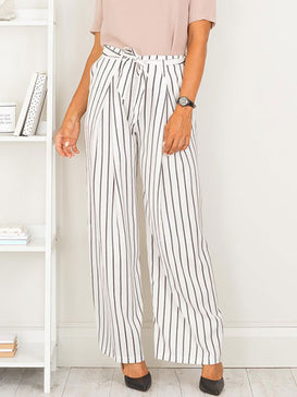 Regular Stripe Wide Leg Pants
