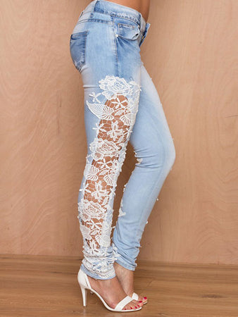 Floral Embroidered Laced Jeans Pants